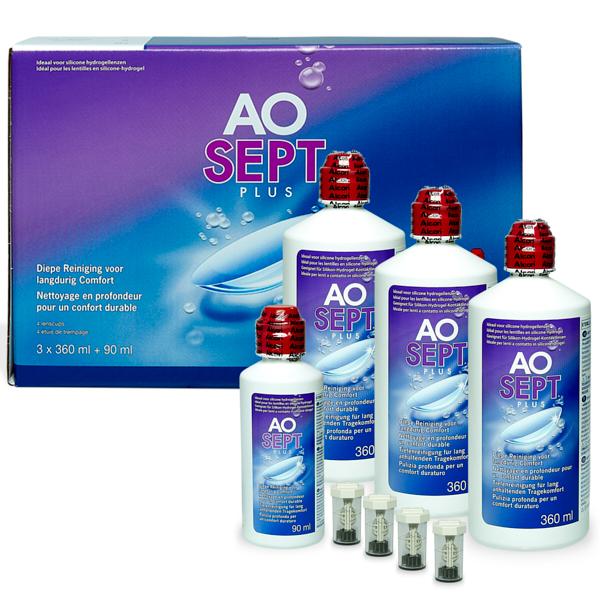produit lentille Aosept Plus 3x360ml + 90ml