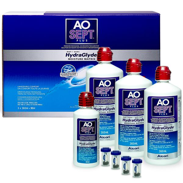 Aosept Plus HydraGlyde 3x360ml + 90ml Pflegemittel